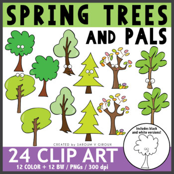 Spring Trees Clip Art + Coloring Pages