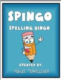 Spingo Spelling Bingo homework-word work-centers