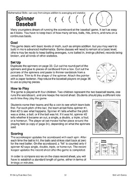 Spinner Baseball (Math Games)