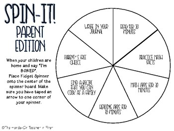 Spinner Board for SUMMER: FREE Parent Tool
