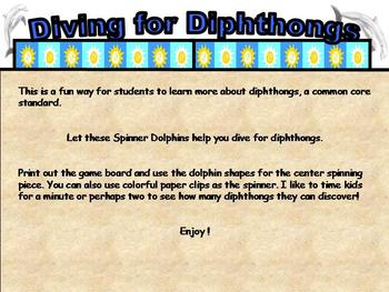 Spinner Dolphin Diphthong Board Game