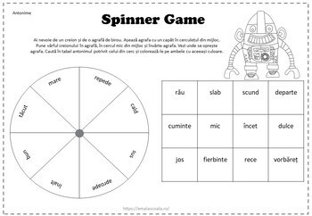 Grammar Spinner Game in Romanian, Spinner Game Gramatica si Vocabular in Romana
