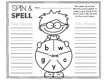 Spinner Games for CVCe Words