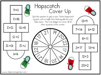Hopscotch Cover Up - Math Spinner Activity