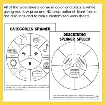 Describing Vocabulary Worksheets