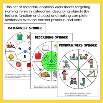 Spinner Describing Vocabulary Worksheets