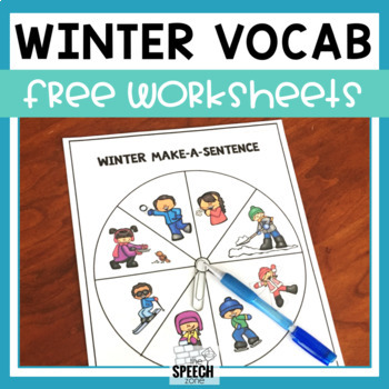 Free Spinner Language Winter Vocabulary Worksheets