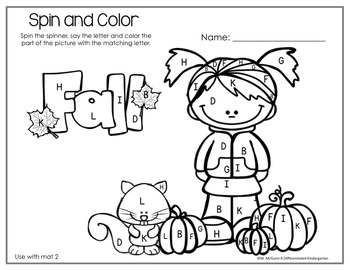 Spinner Letters and Sounds Fun for October-Differentiated and Aligned Printables