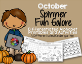 Spinner Letters and Sounds Fun for October-Differentiated