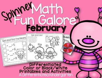 Spinner Math Fun Galore for February:  Printables-Differentiated-Aligned