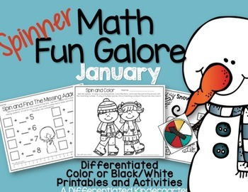 Spinner Math Fun Galore for January - Differentiated and Aligned