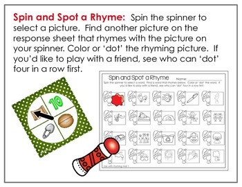 Spinner Rhyming Fun December-Differentiated/Aligned Printables and Activities