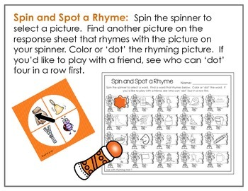 Spinner Rhyming Fun November-Differentiated/Aligned Printables and Activities