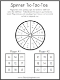 Sums to 20 - Spinner Tic-Tac-Toe - Math Classroom Pencil S