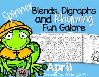Spinner Word Work for April- Digraphs, Blends and Rhyming Printables