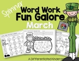 Spinner Word Work for March-Digraph, Blend, CVC and Rhyming Fun