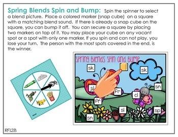 Spinner Word Work for May - Digraphs, Blends and Rhyming Printables