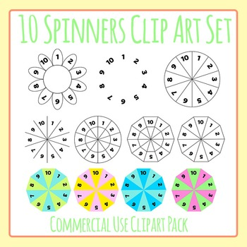 Spinners - 1-10 Round Spinners Clip Art Set for Commercial Use