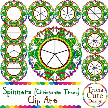 Christmas Spinners Clip Art – Christmas Trees Glitter