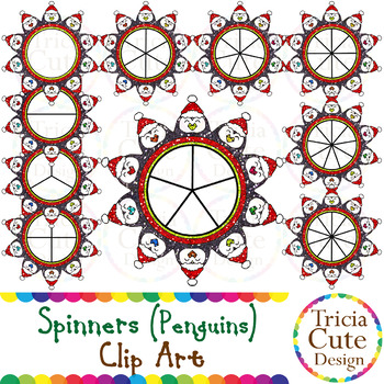 Spinners Christmas Clip Art – Penguins Glitter