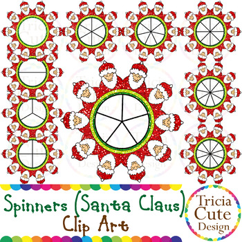 Spinners Christmas Clip Art – Santa Claus Glitter