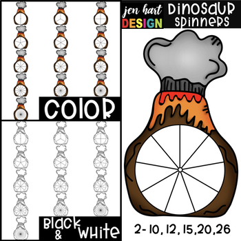 Spinners Clip Art - Dinosaur Spinners {jen hart Clip Art}