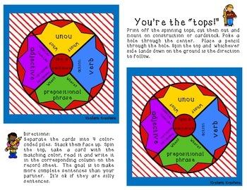 Spinning Tops: Sentence Building Edition
