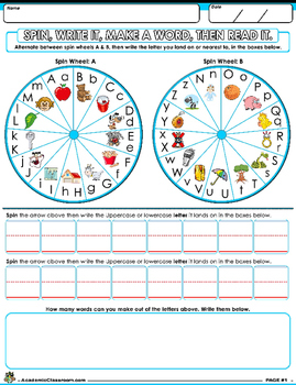Vocabulary Builder: Spinning Wheel Word Maker, Spin, Write, Make a Word, Read It