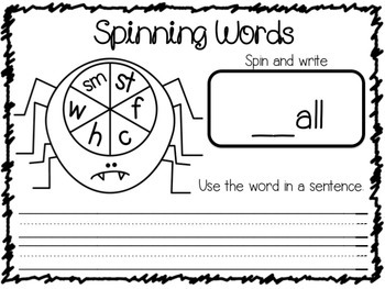 Spinning Words -all and -alk family
