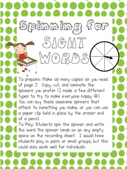 Spinning for Sight Words