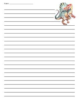 Spinosaurus Dinosaur Lined Paper