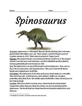 Spinosaurus - lesson review article information facts questions