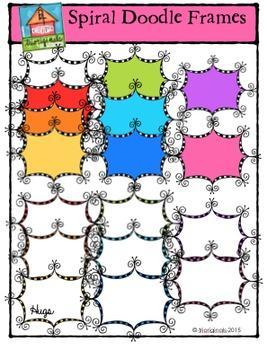 Spiral Doodle Frames {P4 Clips Trioriginals Digital Clip Art}