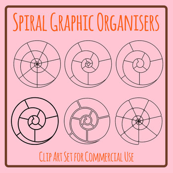 Spiral Graphic Organisers Clip Art Set Commercial Use Ok