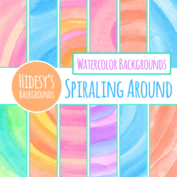 Spiral Handpainted Watercolor Backgrounds / Digital Papers Clip Art