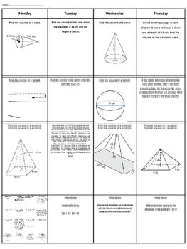 Spiral Homework #10 (8th Grade Math)