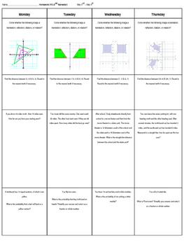 Spiral Homework #14 (8th Grade Math)