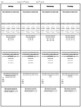 Spiral Homework #16 (8th Grade Math)