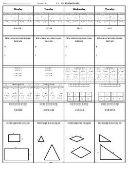 Spiral Homework #2 (8th Grade Math)
