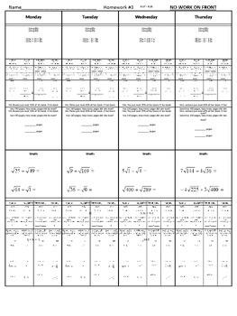 Spiral Homework #3 (8th Grade Math)