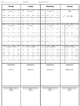 Spiral Homework #7 (8th Grade Math)