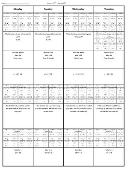 Spiral Homework (7th Grade Math) #8