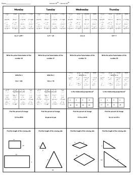 Spiral Homework 7th Grade Math 6 By Maths Bestie Tpt