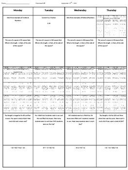 Spiral Homework #8 (8th Grade Math)