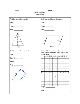 Spiral Homework (Area of Triangles, Parallelograms, and Trapezoids) Part 2