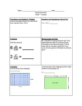 Spiral Homework Grade 6