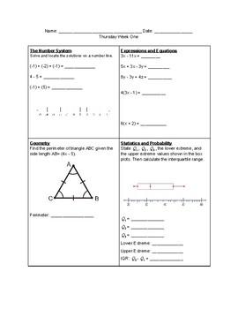 Spiral Homework Grade 8