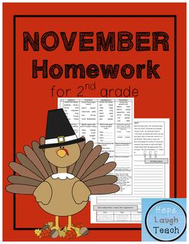2nd Grade Spiral Language Arts Homework - November