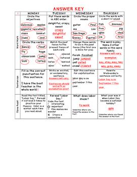 2nd Grade Spiral Language Arts Homework- September