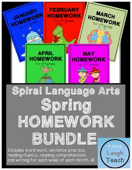2nd Grade Spiral Language Arts Homework- Spring Bundle
